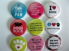 Set of Nine Dog Lovers Button Magnet Set by Getagripmagnets, $12.95