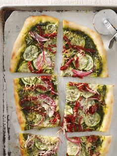We love this yummy (and vegetarian!) quick & easy dinner! Pesto-Vegetable Pizza recipe from an ALL YOU reader. Quicker than delivery!