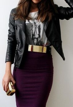 Love the gold belt and the berry skirt with a tee & leather.