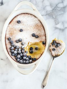 Meyer Lemon Pudding with Blueberries