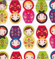 Robert Kaufman Little Kukla Russian Dolls in Bright. $9.00.....AHHHH! These little Matryoshka dolls are ADORABLE, and the colors are fantabulous as well! We're sure this fabric is going to sell out fast, so get it while its hot! Check it out at quiltsandwich.etsy.com