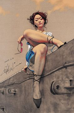 Artist: Zhong Biao, 2006 {contemporary figurative seated beautiful female legs beautiful woman calves cropped drawing}