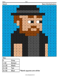Notch Coloring Page Minecraft Multiplication and Division