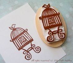 bird cage rubber stamp