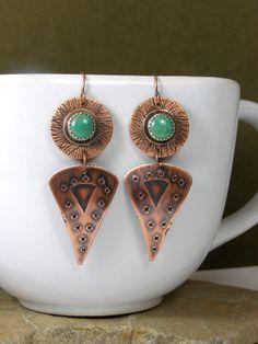 Turquoise Earrings,  Hand Forged Earrings, Viking Earrings  by StoneWearDesigns