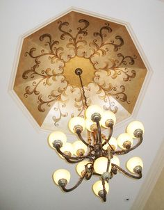 Ornamental Ceiling Painted with Modern Masters Metallic Paints | Project by Meme Hill Studio