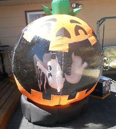 Airblown rotating 6 ft tall inflatable halloween pumpkin ghost globe