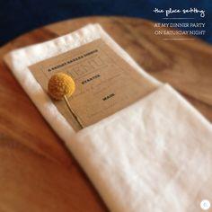 Place setting with craspedia, kraft paper menu, linen napkin and acacia wood placemat via http://brightbazaar.blogspot.com