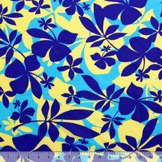 Hibiscus Island Blue Cotton Jersey Knit Fabric