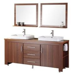 Design Element Washington 72 in. Vanity in Toffee with Wood Vanity Top in Toffee and Mirror-DEC083D-L at The Home Depot