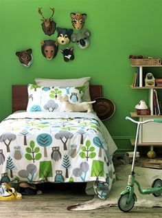 Love these ideas for creating an outdoor theme for a boys bedroom. This Owls Sky Duvet by Dwell Studio is a great place to start. Discover more kids room decorating and organizing tips and ideas @ http://kidsroomdecorating.net
