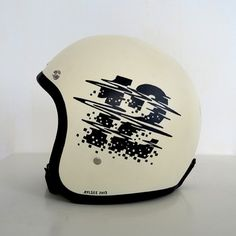 vintage 3/4 helmet in white with 12 painted on side with tv static