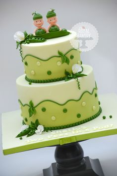 Two Peas in a Pod Baby Shower Cake - A cake inspired by the baby shower party ware by The Rosemary Company.