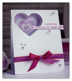 ...{Sylvias Stamping Place}...: With All My Heart - Valentine's Day Card in Purple