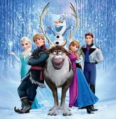 Frozen cast: Elsa the snow queen, Kristoff, Sven the reindeer, Olaf the snowman, Anna and Prince Hans