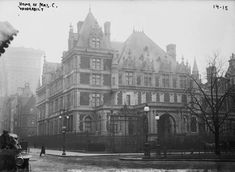 The Cornelius Vanderbilt II House, constructed for Cornelius Vanderbilt II, eldest grandson of the Commodore, Cornelius, founder of the family fortune in 1883; at 1 West 57th Street, New York City. Feeling others were trying to outdo him, he bought all the property on the 5th Avenue block, & hired George B. Post + Richard Morris Hunt to construct a much larger mansion, filling the entire block front. The interiors were done by the French design firm Jules Allard & Sons.