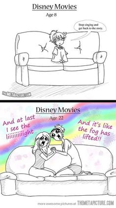 Disney movies then and now…