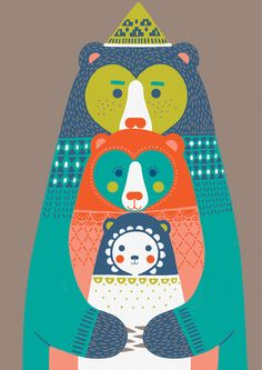 bears illustration, illustr bear, katleuzing, bear art, art prints, families, kat leuzing, ipod case, famili bear