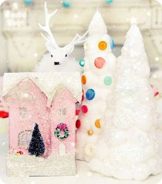 Cotton Ball Christmas Trees tutorial- made simply from cereal boxes rolled up and cotton balls
