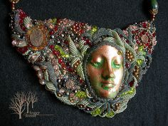 Pyrite's soul necklace Pyrite, natural leather,  ceramic face by Diane Briegleb, Japanese beads, Czech beads.
