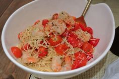 Lemon Shrimp Pasta with Tomatoes, Valentines Day dinner ideas, Dinner for two