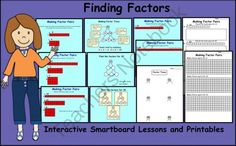 Finding Factors Interactive Smartboard Lessons and Printables from Teaching The Smart Way on TeachersNotebook.com -  (11 pages)  - Interactive Smartboard Lessons and Printable pages to teach Factors