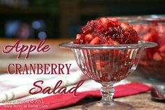 Apple Cranberry Salad Recipe:  It's week 3 of the Holiday Progressive Dinner Blog Hop.  I did salads this week -- Apple Cranberry Salad and Mandarin Orange Tapioca Salad.