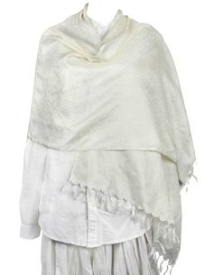 Off White Scarf Silk Long Fashion Accessory Women Paisley Dresses Indian: Amazon.co.uk: Clothing