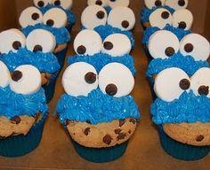 Cookie Monster CupCakes! cookie monster, monster cupcak, cooki monster, birthday cupcakes, future kids, parti