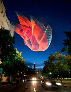 """Janet Echelman """"1.26"""" Sculpture Project, Denver Art Museum"""