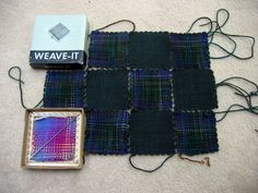 Weave-it squares - variegated yarn gives a plaid effect