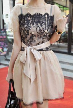 Nude Short Sleeve Lace Bow Valen Dress
