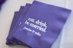 Bold purple napkins to match your wedding theme.