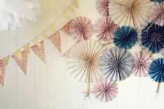 love these patterned paper fans for decorating party walls ~ image from Oh Hello Friend blog #banner #pinwheels #backdrop #decor