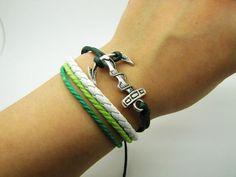 Adjustable Vintage Silver anchor Bacelet Green by sevenvsxiao, $6.00