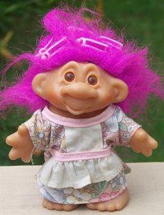 Dam Troll Doll with Curlers / Hair Rollers www.rubylane.com/... via @rubylanecom