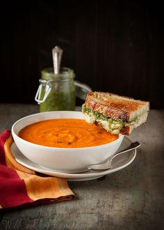 Garden Fresh Tomato Basil Soup, with Pesto Grilled Cheese Sandwiches ~ Caprese In A Whole New Way.  Great for the abundance of tomatoes this summer!