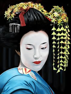 Geisha freehand iPad drawing using the Brushes App.by A.Harrison.
