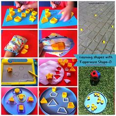 Learning Shapes with Tupperware Shape-O.  Read more at http://www.yourkidsot.com/1/post/2014/04/re-purposing-tupperware-shape-o.html