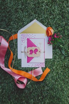 wedding invitations with pops of pink and gold, photo by Mel Nocks Photography http://ruffledblog.com/whimsical-greenville-wedding #stationery #weddinginvitations