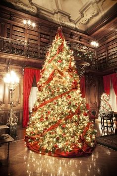 The glow of hundreds of lights illuminate George Vanderbilt's Library during Christmas at Biltmore. Copyright 2011 The Biltmore Company, all rights reserved