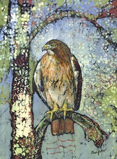 Janet Searfoss batiks batik watercolor, batik bird, searfoss batik, batik artistri, wild lifeart