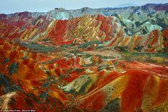 stunning rock formations at Nantaizi village of Nijiaying town in Linzhe county of Zhangye, Gansu province, China
