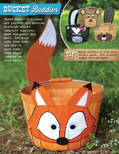 Transform basic baskets into cute-camp-worthy critters with these ideas!