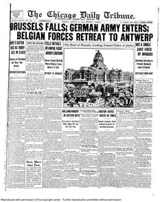 Aug. 21, 1914: Brussels falls. Belgian forces retreat to new capital Antwerp.
