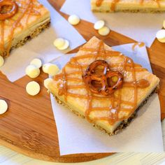 Pretzel Crusted White Chocolate Brownies with Salted Caramel...