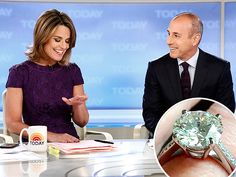 Savannah Guthrie:  a large round diamond on a pave band.