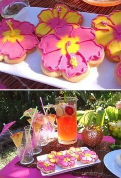 hibiscus cooki, hibiscus birthday cake, hibiscus cake, cake cake, tropical birthday, birthday cakes