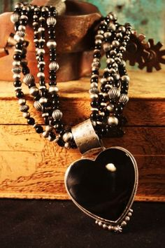 ♡DAN DODSON HEART PENDANT & ONYX NECKLACE!   WE'VE JUST ACQUIRED SOME LOVELY PIECES FROM ESTABLISHED SANTA FE ARTIST DAN DODSON.  THIS PIECE COMBI…  $599.00