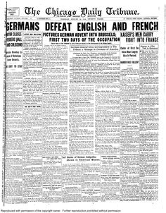 Aug. 25, 1914: Germans defeats English and French.
